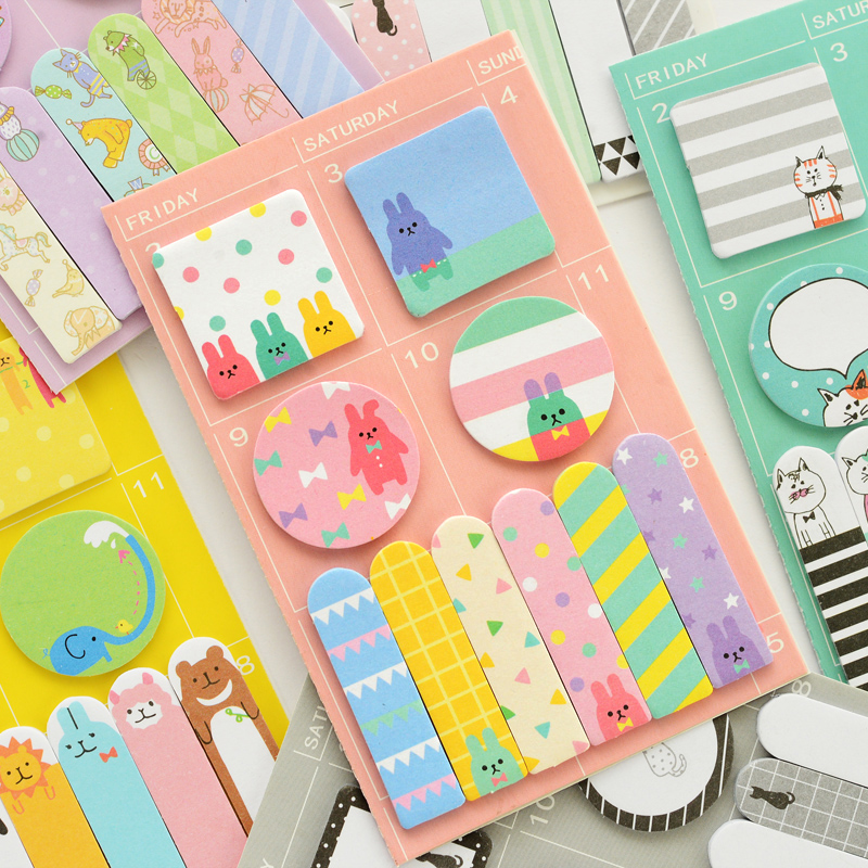 6 pcs/Lot Kawaii animal post week plan memo set Cute cat rabbit sticky note Agenda sticker Office School supplies DM139