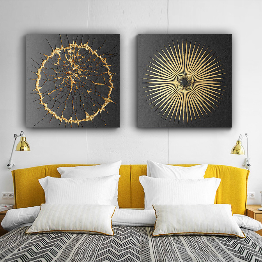 Abstract Geometry Wall Art Nordic Black Gold Paintings Modern Living Room Kitchen Canvas Pictures Decor Posters And Prints