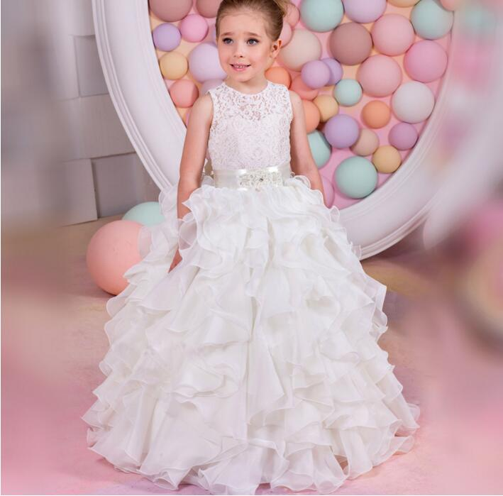 2017 Hot Sale White Flower Girls Dress Girls First Communion Gown Lace with Belt Ruched Crew Neck Custom Pageant Birthday Gown hot sale custom cheap pageant dress for little girls lace beaded corset glitz tulle flower girl dresses first communion gown