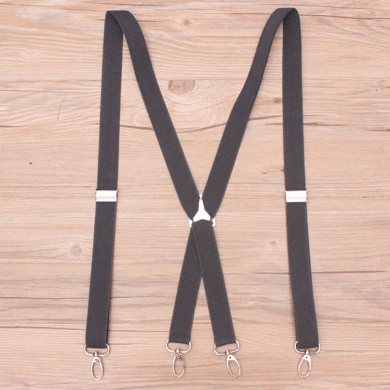 4 Clips Hook Black Colored Men's Suspenders For Men 2.5cm Women's Pants With Adjustable Suspenders Grey Coffee Black 2.5*100cm