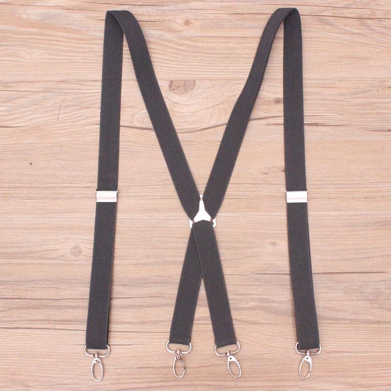 4 Clips Hook Black Colored Men's Suspenders For Men 2.5cm Women's Pants With Adjustable Suspenders Grey Coffee Black 2.5*100cm