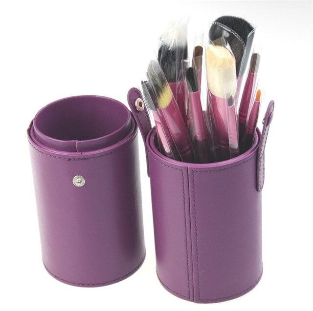 Frete Grátis ~ New Super Profissional 13 pcs Jogo de Escova Minerals Make Up/Cosmetic Brushes Kit Wth Cilindro Roxo Caso do PLUTÔNIO