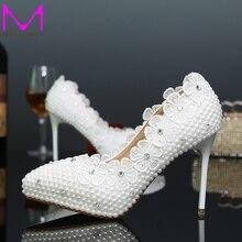 Schöne Braut Hochzeit Schuhe Spitz Dünne Ferse Brautjungfer Schuhe Weiße Perle Modellierung High Heels Party Bequeme Schuhe