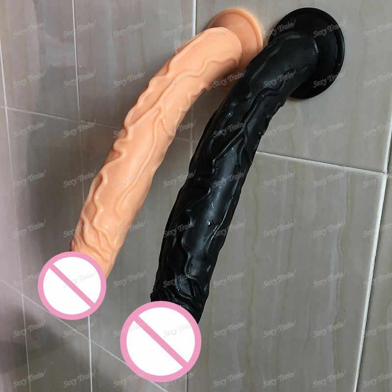Caliente Super suave 35*5CM largo gran vibrador realista ventosa de silicona para caballos, consolador juguetes sexuales para mujeres, pene para adultos, productos sexuales