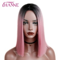 HANNE Ombre Pink Purple Grey Short Straight Heat Resistant Synthetic Hair Wig For Black White Women