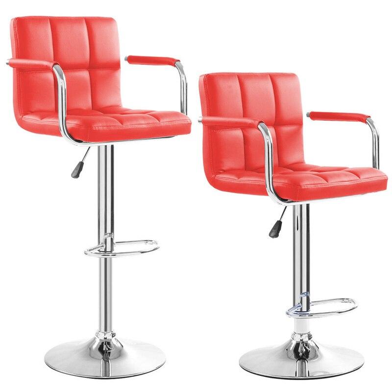 COSTWAY 2 pcs PU En Cuir Moderne Réglable Tabouret de Bar Avec Mains Courantes Chaise Pivotante Chaise de Bar Mobilier Commercial Bar Outil HW50133