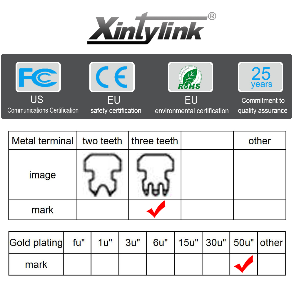 Image 5 - xintylink 50U EZ rj45 connector cat6 rj 45 ethernet cable plug cat5e utp 8P8C cat 6 network unshielded modular cat5 terminals-in Computer Cables & Connectors from Computer & Office
