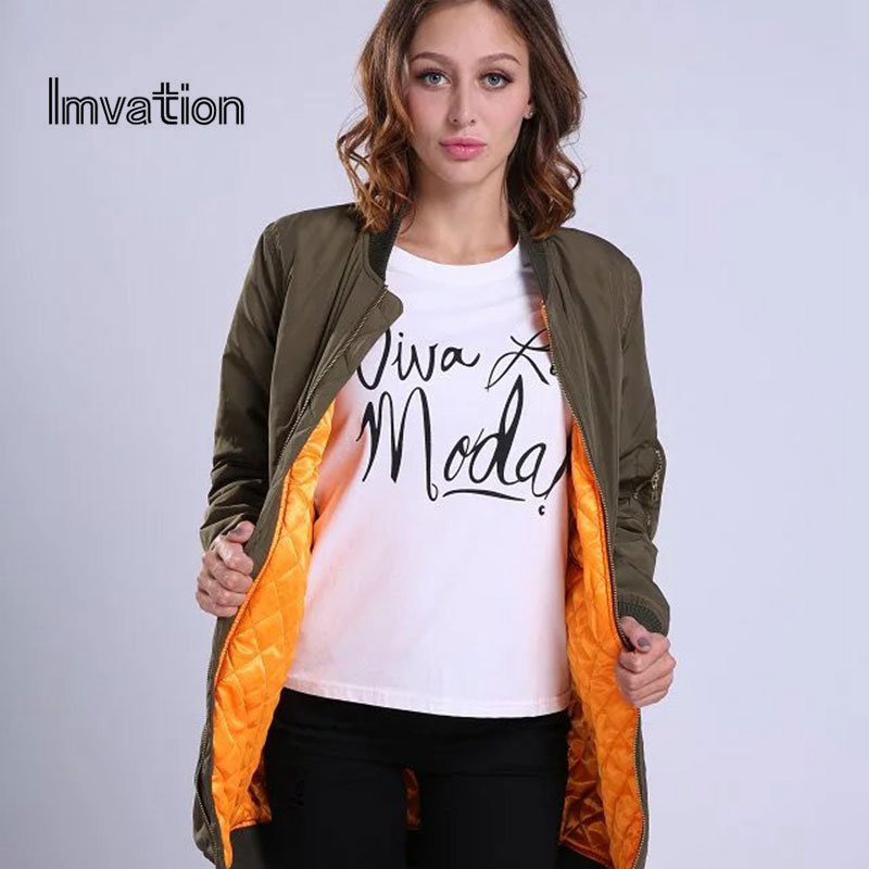 ФОТО Imvation 2017 Spring Autumn Women Solid Flight Army Green Bomber Jacket Lady's Solid Color Zipper Short Air Force quilted jacket