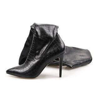 Image 4 - Perixir נשים גבוהה עקבים ארוך ירך גבוהה מגפי ריהאנה סגנון מעל הברך מגפי מחודדת הבוהן נשים שחור נעלי ב חורף 2020