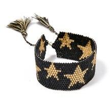 Multi Color MIYUKI Seed Beads Stars Bracelets Cuff Charm Handmade Jewelry Men Ethnic Tassel Woven Friendship Best Gifts Women