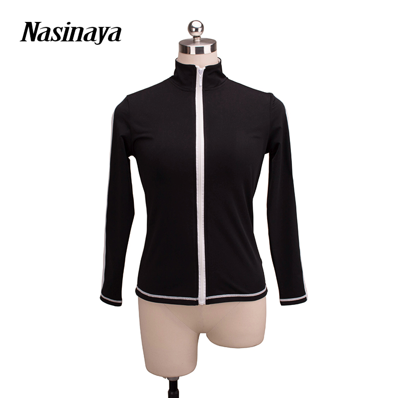 цена  Customized Costume Ice Skating Figure Skating Tops Jacket Black White Velvet Warm Fleece Adult Child Girl Long Sleeve Coat  онлайн в 2017 году