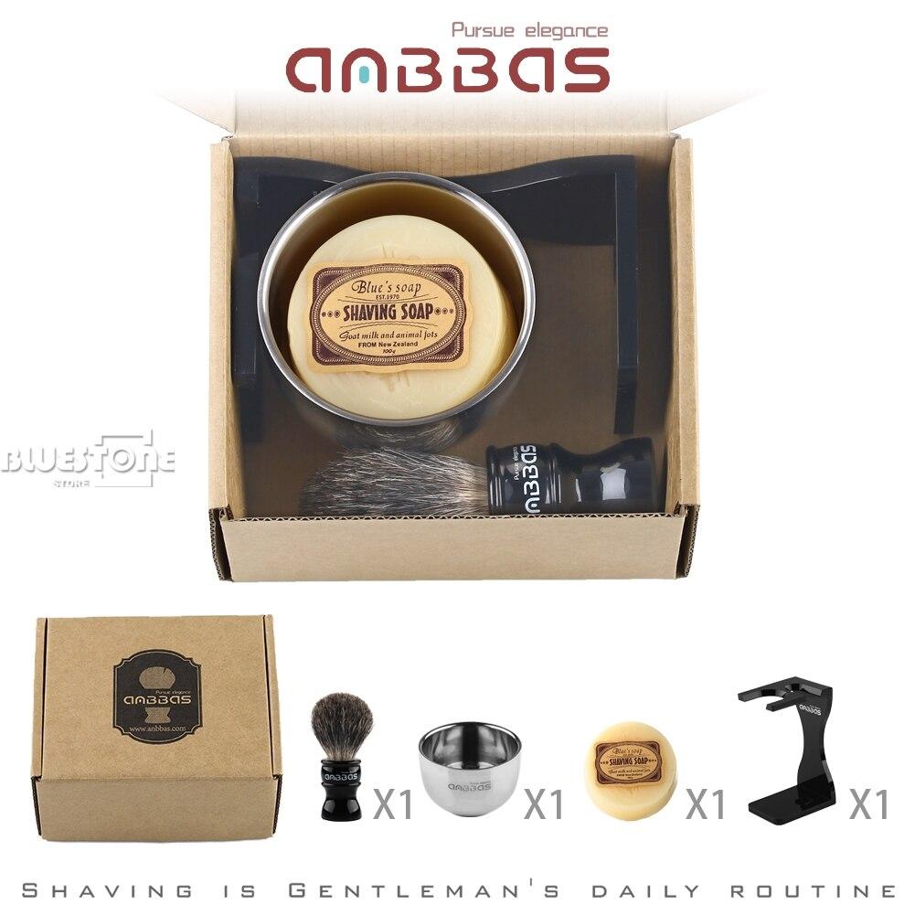 Купить с кэшбэком Anbbas Barber Shaving Brush Badger Hair,Black Acrylic Stand, Bowl, Soap  Set