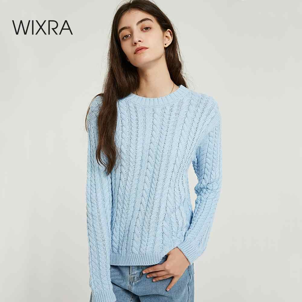 Wixra O Neck Sweaters Solid Warm Casual Ladies Long Sleeve Knitted Sweater Pullovers Women's Jumpers Autumn Winter