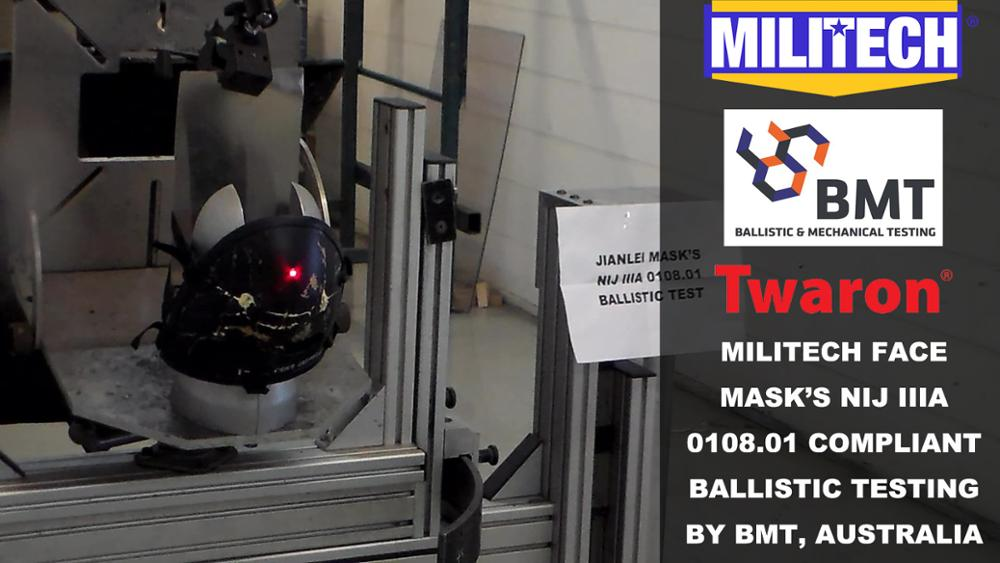 Test Video--Militech NIJ IIIA 0108.01 Ballistic Mask Testing Video