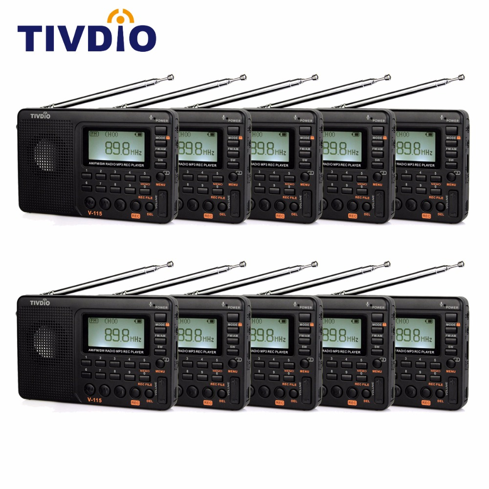 10pcs TIVDIO V-115 FM/AM Shortwave Radio Receiver with MP3 Player REC Recorder Sleep Timer F9205A