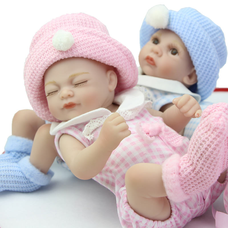 Little Peanut Twins Reborn Babies Full Body Silicone Vinyl 11 Inch Realistic Girl And Boy Dolls Boneca Toys Kids Birthday Gift