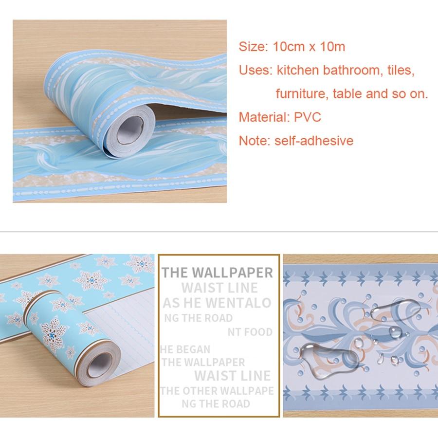 PVC Self adhesive Wallpaper Border Kitchen Bathroom Skirting Line ...