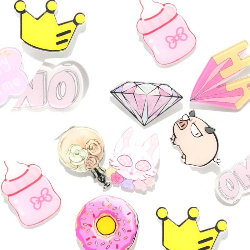 1 PCS Kawaii Badges for Clothing Free Shipping Acrylic Badges Icons on The Backpack Harajuku Badge Pin Brooch Decoration Icon