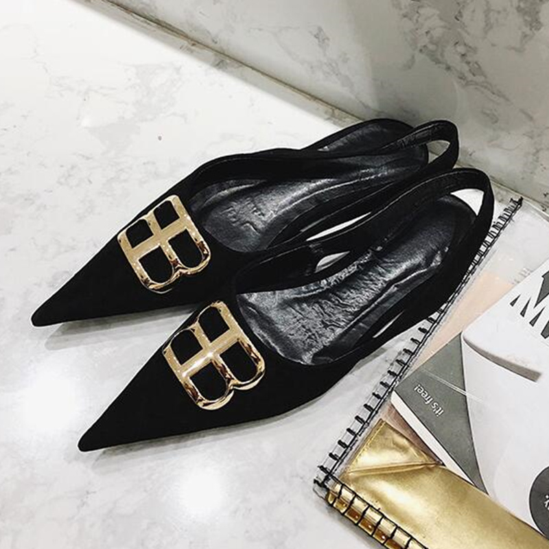 Woman Flats Pointed Toe Woman Shoes Gold Metal Decor Suede Woman Party Runway Wedding Shoes Slingback Brand Chic Sapato FemininoWoman Flats Pointed Toe Woman Shoes Gold Metal Decor Suede Woman Party Runway Wedding Shoes Slingback Brand Chic Sapato Feminino