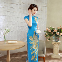 New Arrival Light Blue Chinese Style Lady Silk Qipao Traditional Phoenix Long Cheongsam Vintage Dress Size