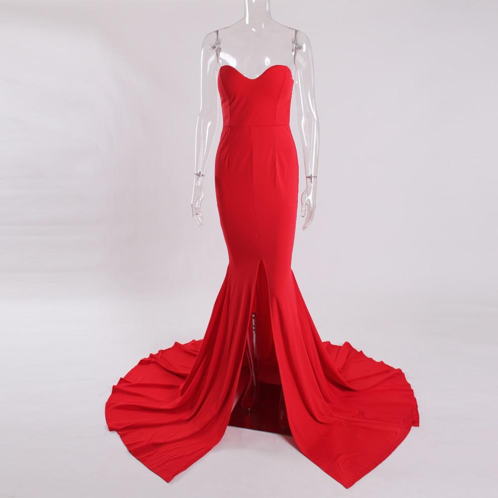 Strapless Split Front  Mermaid Sleeveless Elegant Dress 7