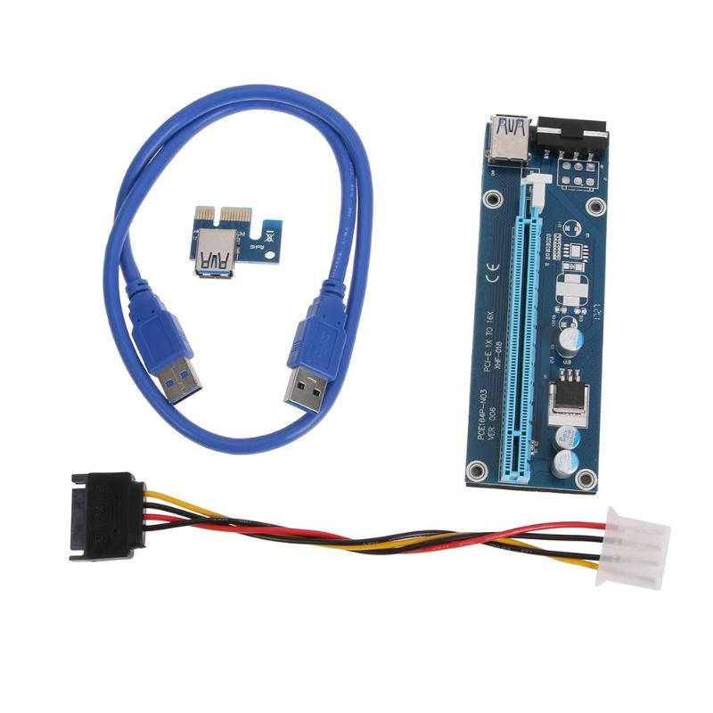 60cm PCI-E PCI Express Riser Card 1X To 16X USB 3.0  Extender Graphic Card Adapter 15Pin SATA To 4Pin Power Cable For BTC Mining
