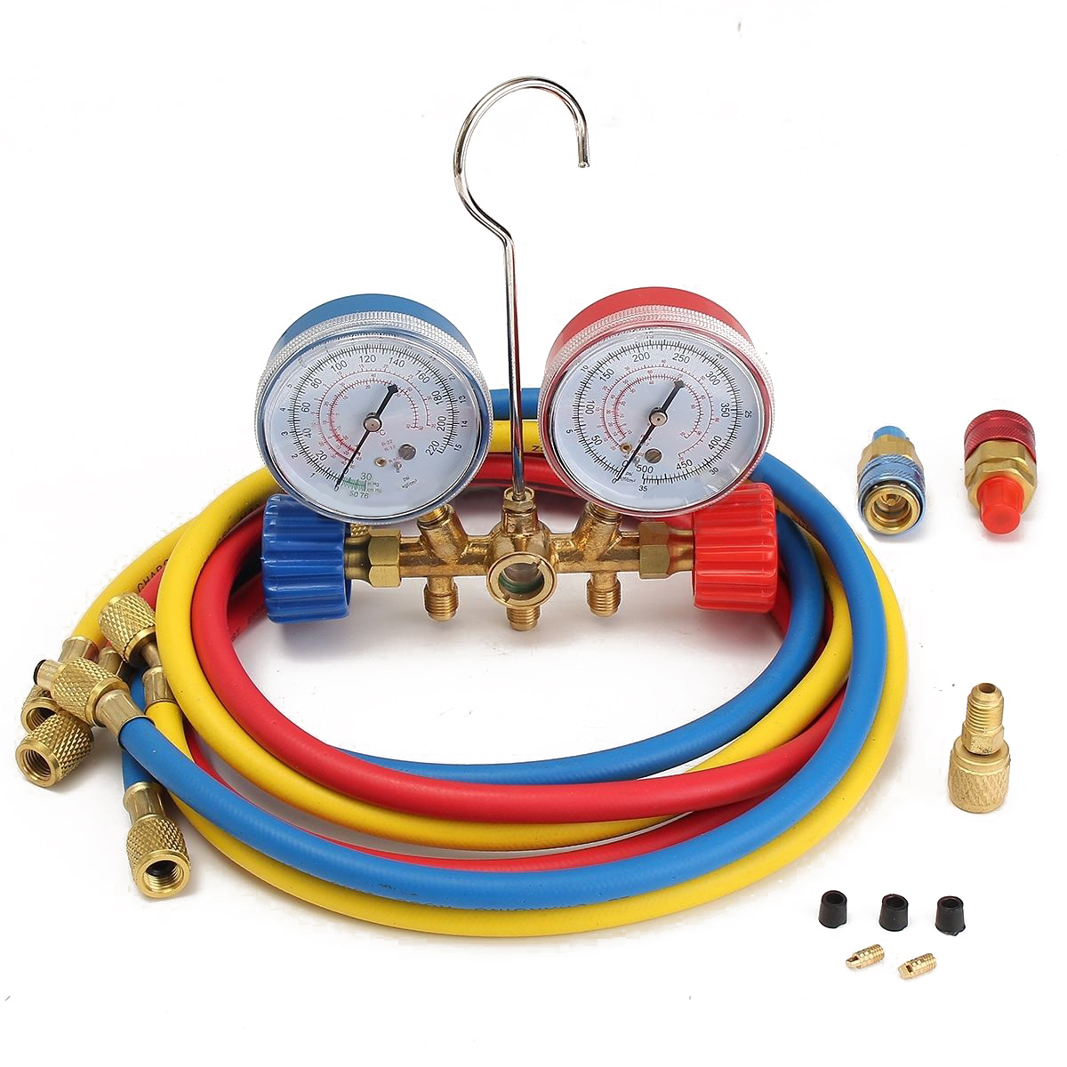 Refrigerant Manifold Gauge HVAC R134A R22 R12 R502 Adapter with 150cm Charging Hose 1/4 SAE r22 r12 r134 a c manifold high and low pressure gauge three pipes with imperial adapter refrigerator parts
