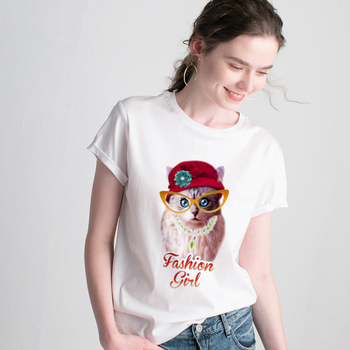 T-shirt kawaii sweet cat Printed Harajuku T shirt Women 2019 New summer Tshirt O-neck Short Sleeve White Tops Female Clothing