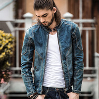 2016 Autumn Denim Jacket Men Casual Cotton Jeans Jackets Plus Size Mens Top Quality Vintage Denim
