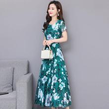 цена на Yfashion Women Floral Printed Casual Short Sleeves Large Hem A-line Waisted Dress Girl Leisure Dress High Quality Natural Simple