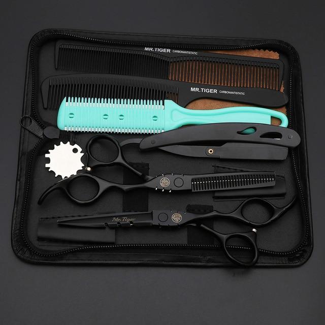 Tijeras japonesas negras para peluquería, conjunto de corte de pelo, 5,5, 6,0