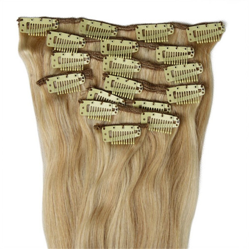 8PCS 1518202224Clip In Full Head 100% Real Remy Human Hair Extensions Hot Sale 7pcs 120g color 3 24 3 brazilian remy hair full set clip on hair extensions 100