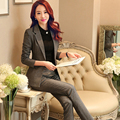2016 High Quality Autumn Women Interview Formal Work Office Pant Suits OL Elegant Slim Business Suit Plus Size S-4XL W197