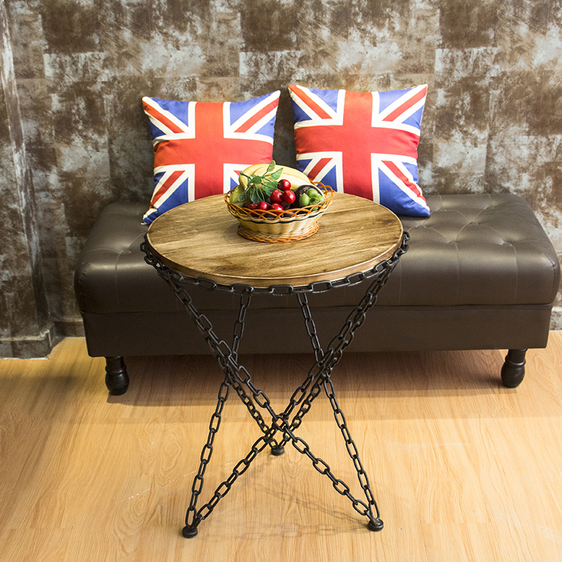 The new round table iron chains creative wood simple living room sofa coffee table corner tea table a round coffee table made of iron cane outdoor recreation modern simple angle