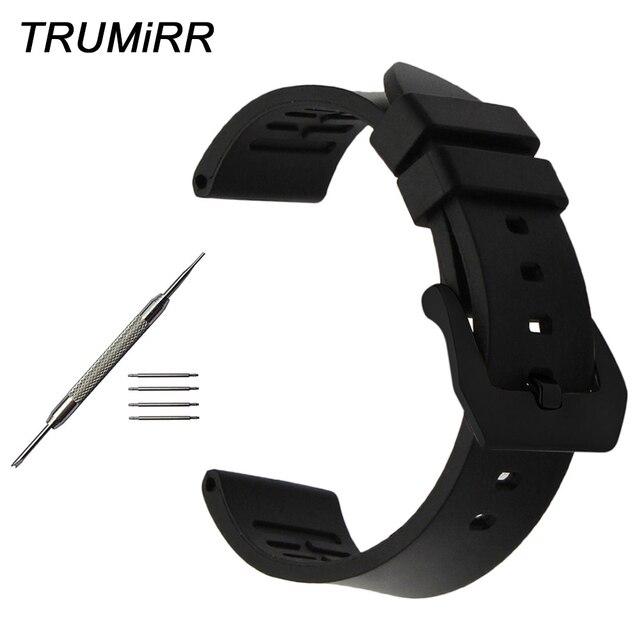 5e14e37bc30 22mm 24mm Fluoro Borracha Pulseira para Luminox Tissot Longines Mido Rado  Watch Band Aço Inoxidável Escovado