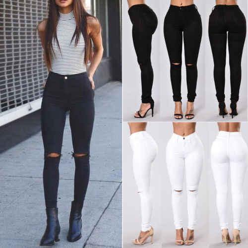 acd85e59a1b ... Летний стиль Белый рваные джинсы Для женщин Джеггинсы классные  джинсовые высокие брюки с высокой талией Капри ...