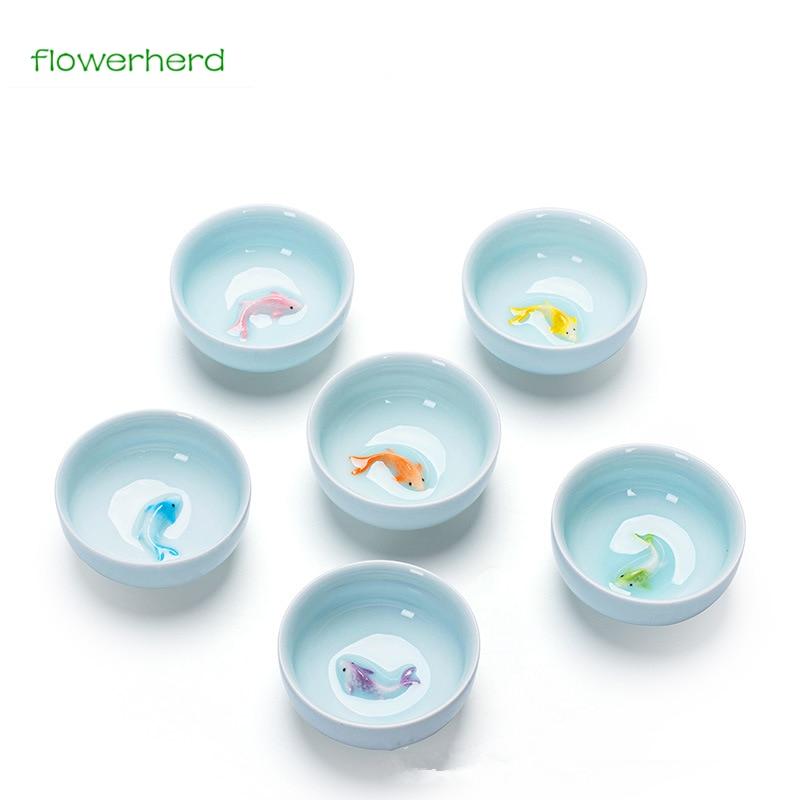 Color Chinese Tea Cup Porcelain Celadon Fish Teacup Set Teapot Drinkware Ceramic China Kung Fu Tea Set Ceramic Cup Chinese Gift