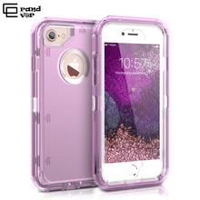 купить GrandEver 360 Hybrid Robot Case For iPhone 7 6s 6 8 Plus Case Clear Pink Purple Bumper Silicone PC+TPU Protective Cover Fundas по цене 229.91 рублей