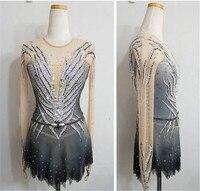 Фигурное катание платье Для женщин девочек Катание на коньках платье конкурентоспособная сценический костюм темно серый черный блестящий