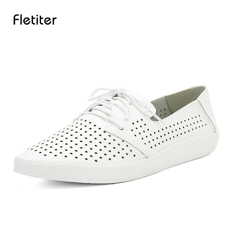 Fletite 2018 New Quality Handmade Flats Women Shoes Summer Women Flat Heel Soft Loafers Women Genuine Leather Shoes Zapato mujer veowalk extreme low top women casual linen cotton loafers handmade vintage ladies canvas walking hemp flat shoes zapato mujer