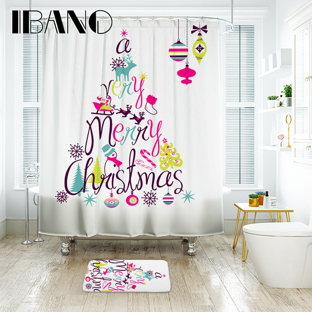 IBANO Christmas Shower Curtain Waterproof Polyester Fabric Bath For The Bathroom With 12 Pcs Plastic