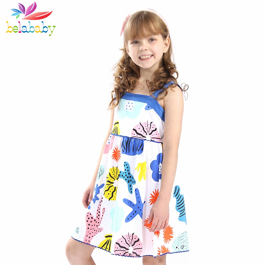 Belababy Baby Girls Summer Dress 2018 Brand Princess Dress For Girl Casual Print Beach Dresses 100% Cotton Children Vestidos 2018 brand summer girls cotton casual