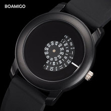 BOAMIGO Brand Creative Watch Men Gift Simple Wristwatch Mens Watches Quartz Fashion For Luxury Casual Rubber Clcok