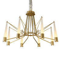 American style Chandelier light Real brass luxury Living room Crystal glass shade Droplight Post modern simple Lighting fixture