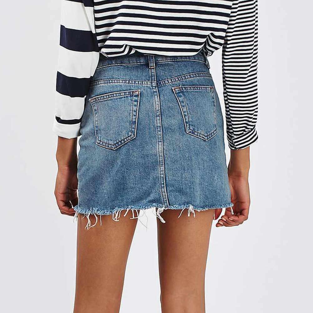 9be1b87f6 Mujeres otoño negro azul sólido Casual de alta cintura lápiz Denim faldas  de verano alto bolsillos de la calle botón Todo-combinado Jeans falda