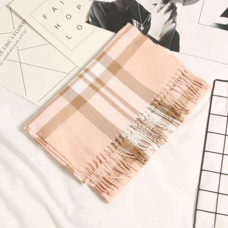 Осенне-зимний детский шарф, британский клетчатый высококачественный теплый мягкий шарф из искусственного кашемира, модный шарф для мальчиков и девочек - Цвет: TG-422 light pink
