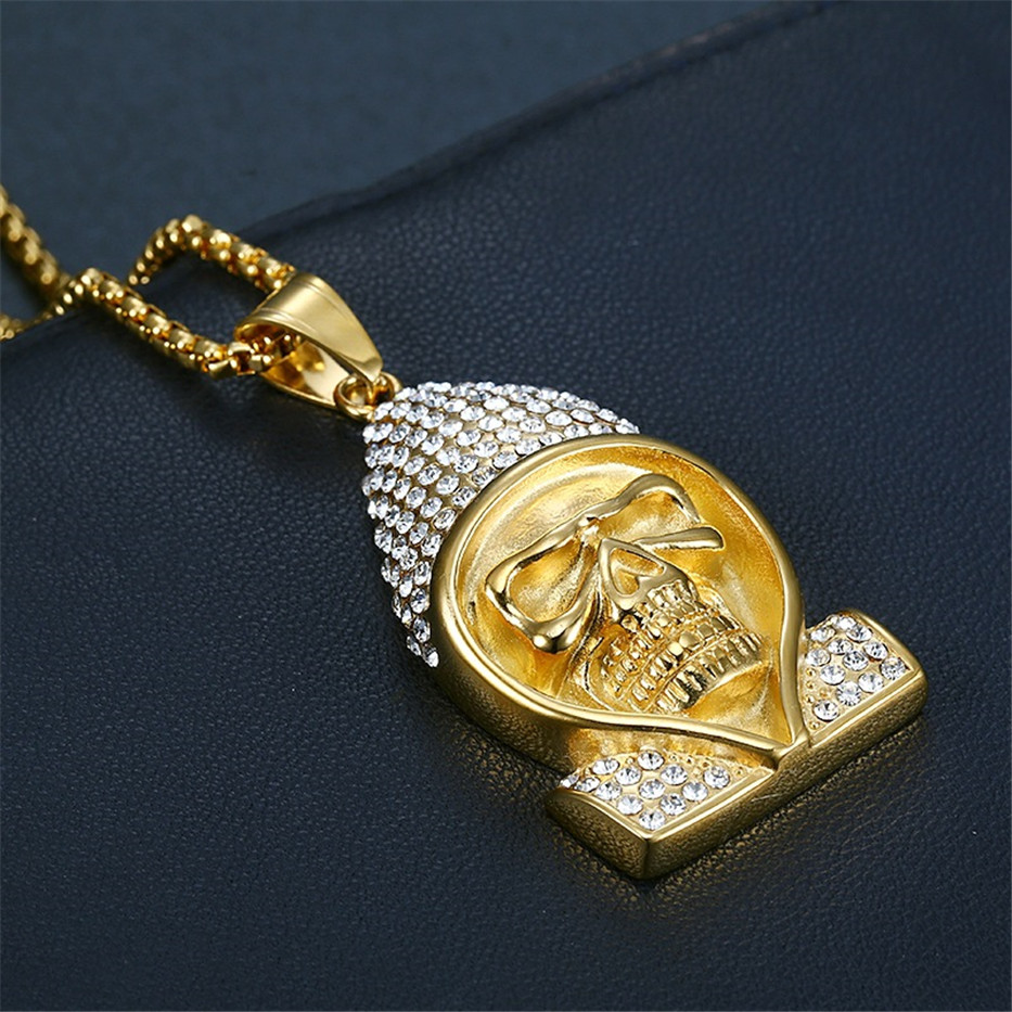 Hip Hop Iced Out Skeleton Skull Head Pendant Necklace Gold Color Stainless Steel Chain Rhinestones Necklaces Men Bling Jewelry in Pendant Necklaces from Jewelry Accessories