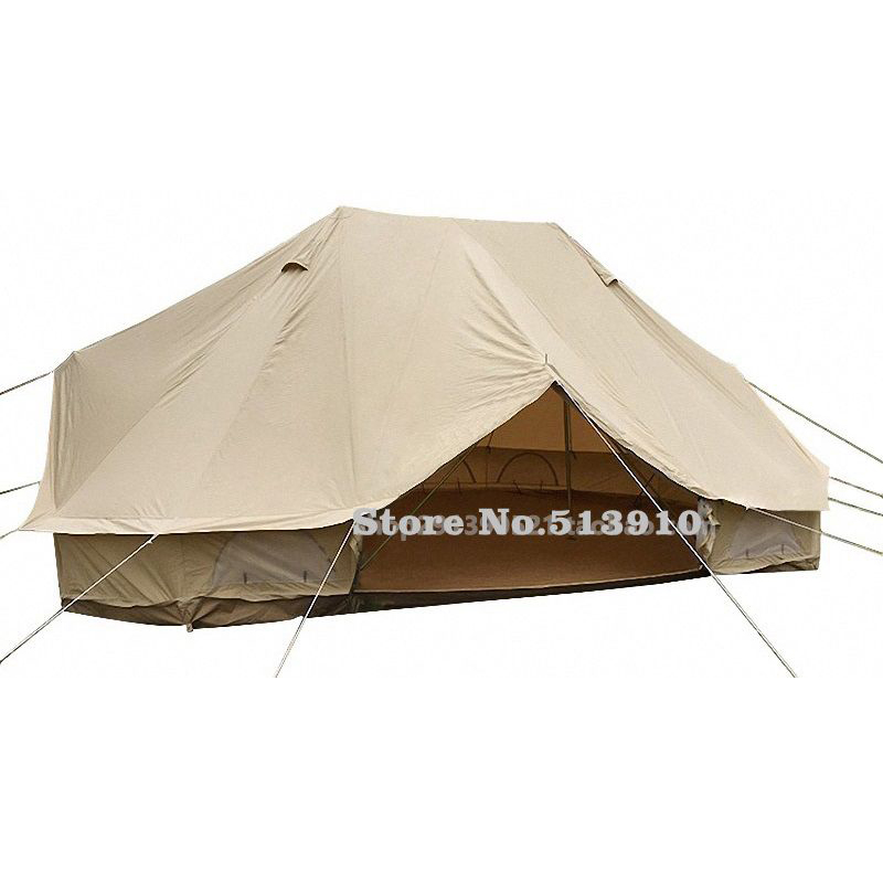 6m*4m*3m large Khaki Waterproof Cotton Canvas double Bell <font><b>Tent</b></font> Outdoor Camping 10 Family Camping Yurt <font><b>Tent</b></font> keep warm