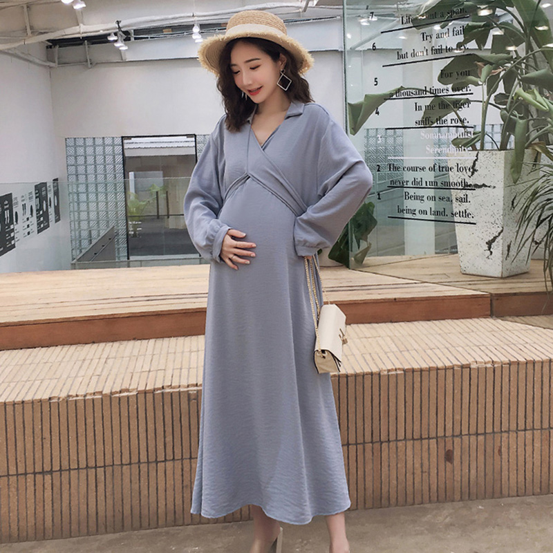 V neck womens clothing dresses with belted waist New Sale Korean long sleeve pregnancy dress photography maternity summer dress