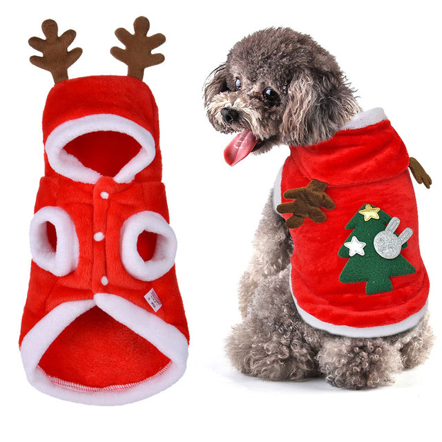 Christmas Dog Clothes Winter Warm Coat Clothing Santa Costume Pet Cat Christmas  Clothes For Small Puppy Pug Chihuahua Yorkshire - Christmas Dog Clothes Winter Warm Coat Clothing Santa Costume Pet